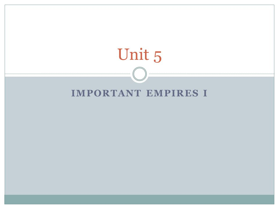 Unit 5 Important Empires I