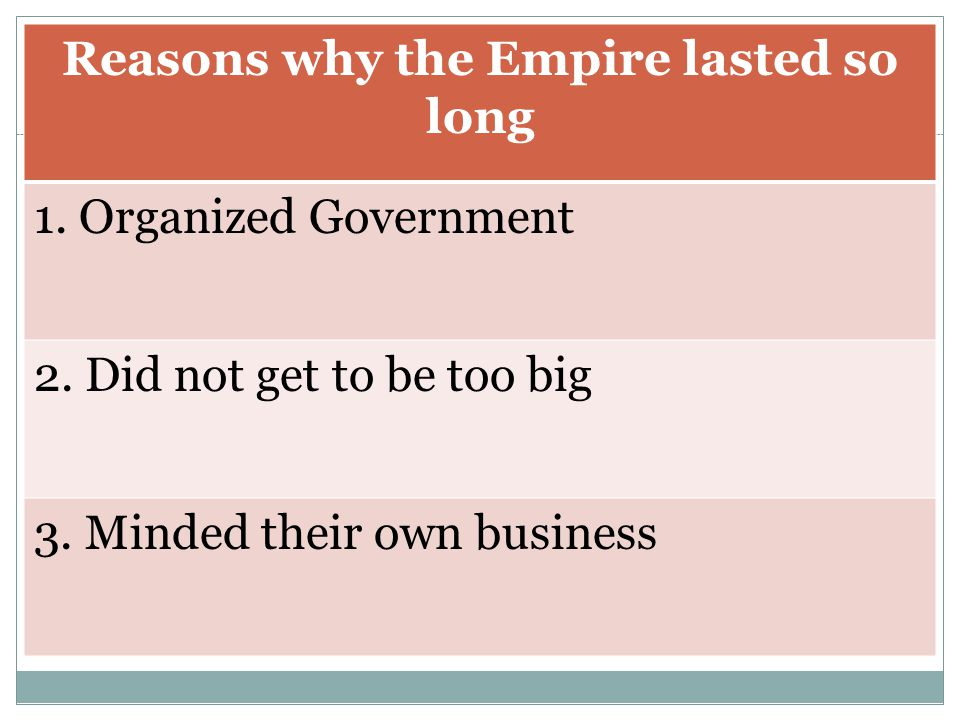 Reasons why the Empire lasted so long
