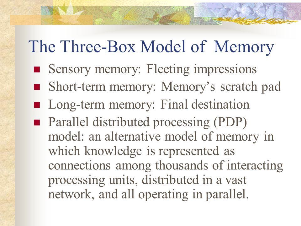explain the three box model of memory An easy-to-understand introduction to computer memory, including an explanation of terms such as ram, rom (explained more fully in the box below).