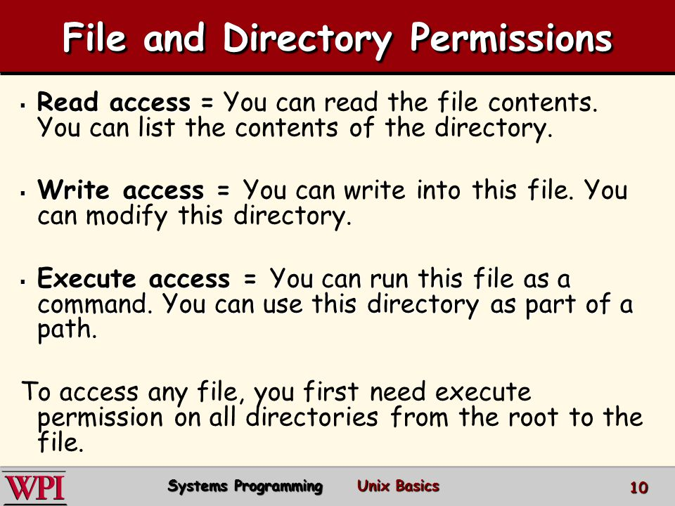 File and Directory Permissions