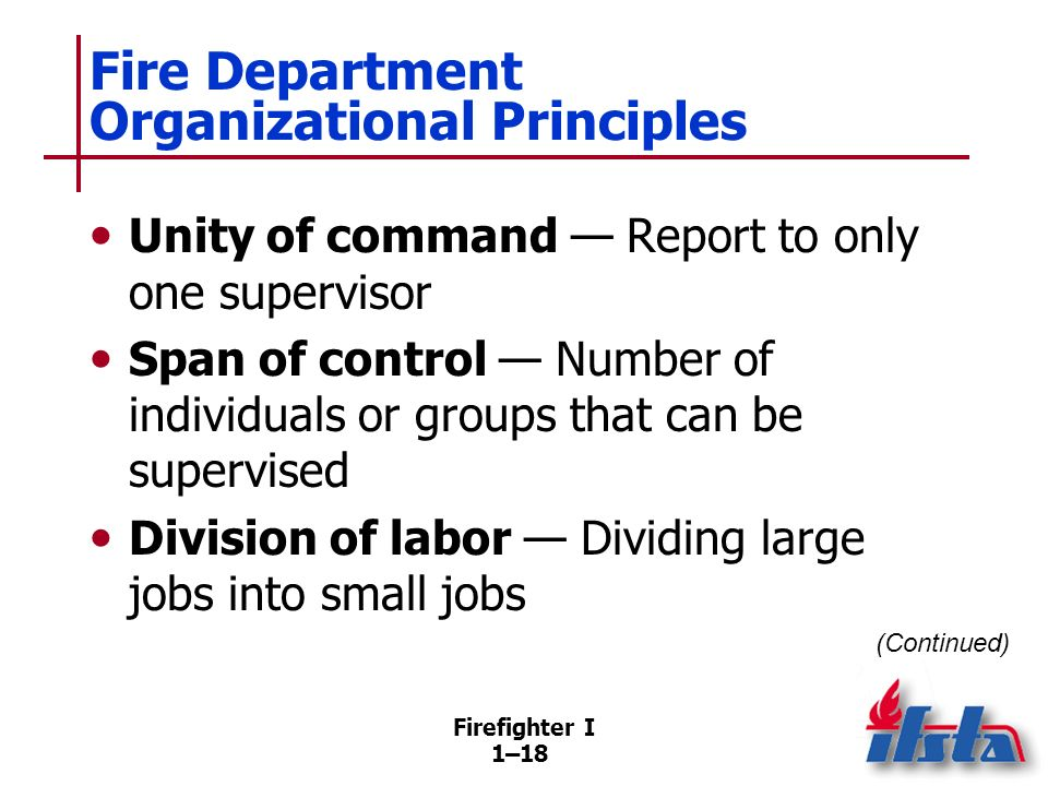 Fire Department Organizational Principles