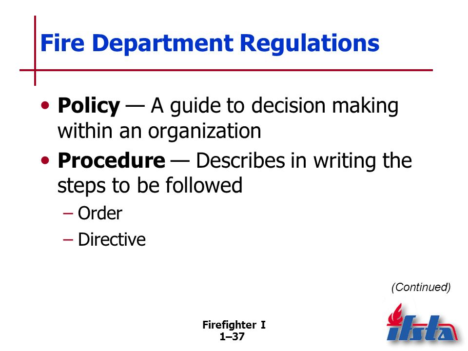 Fire Department Regulations