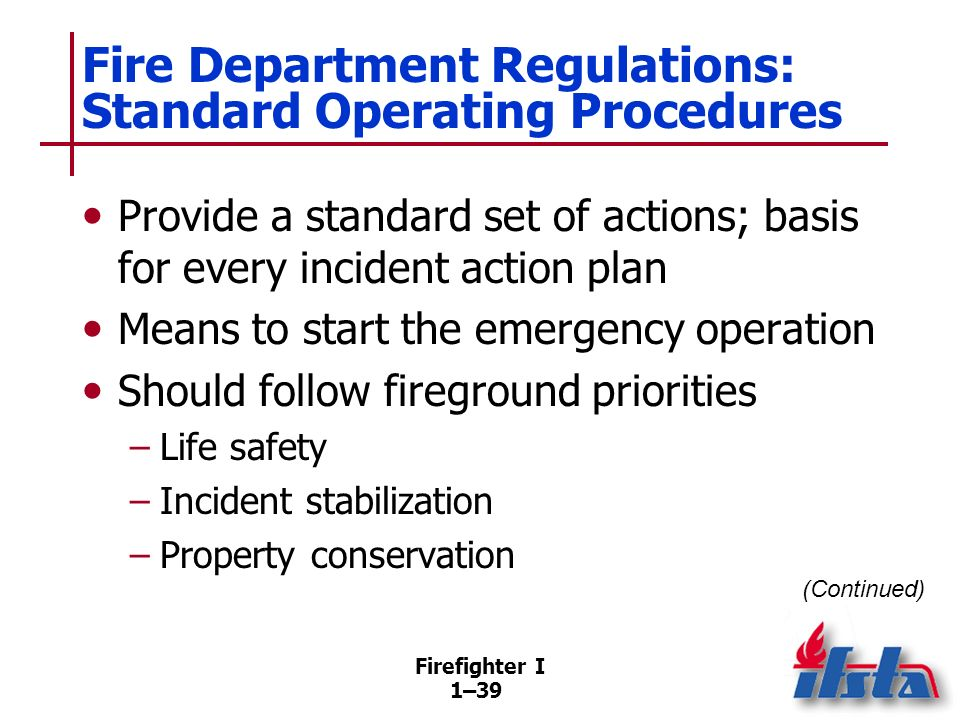 Fire Department Regulations: Standard Operating Procedures