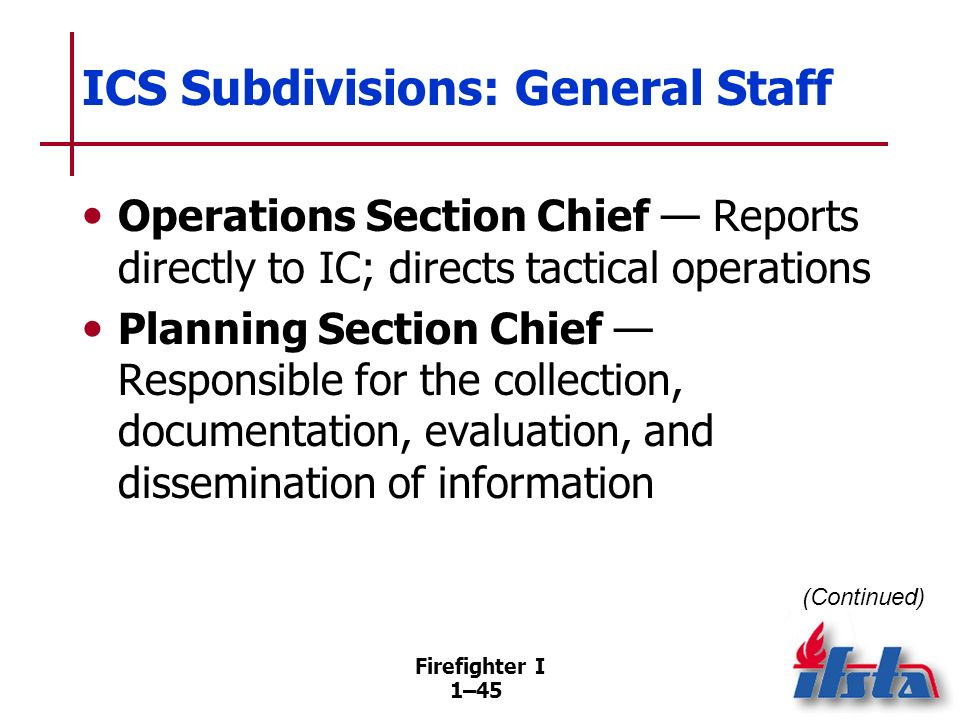 ICS Subdivisions: General Staff