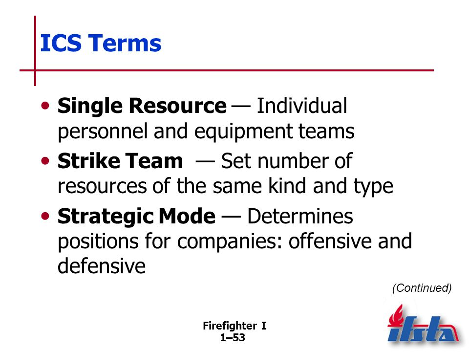 ICS Terms Supervisor — Someone in command of a division or a group