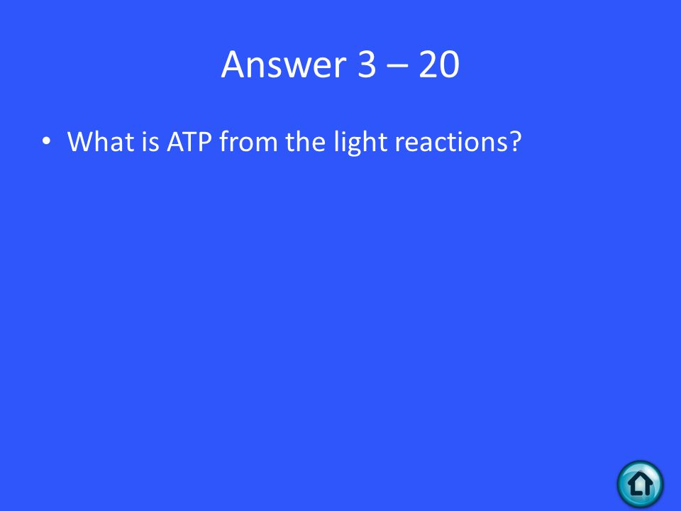 Answer 3 – 20 What is ATP from the light reactions