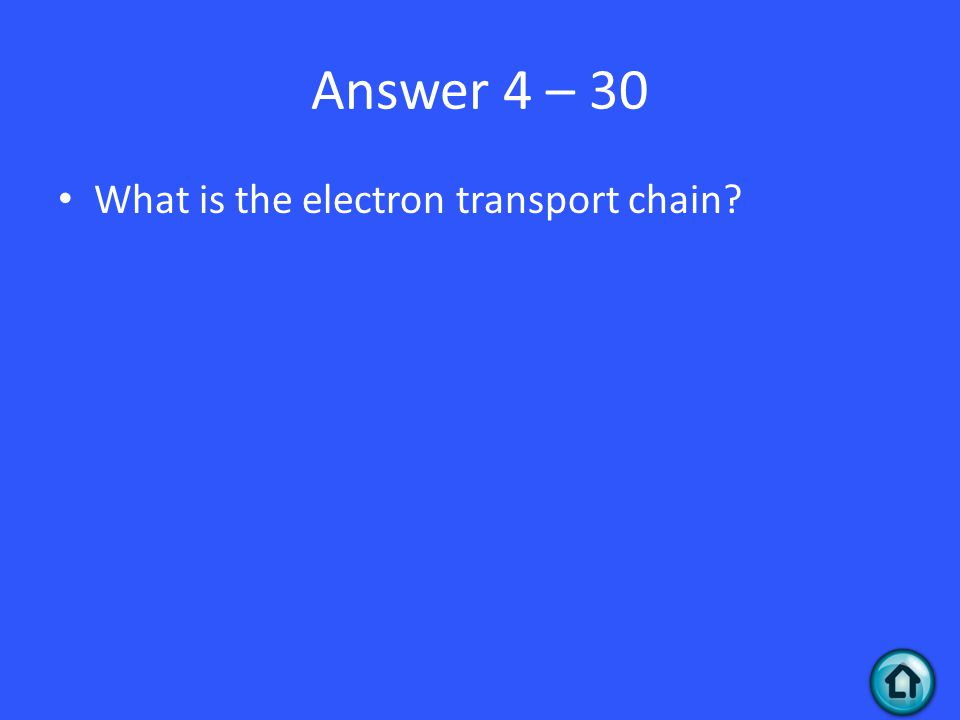 Answer 4 – 30 What is the electron transport chain