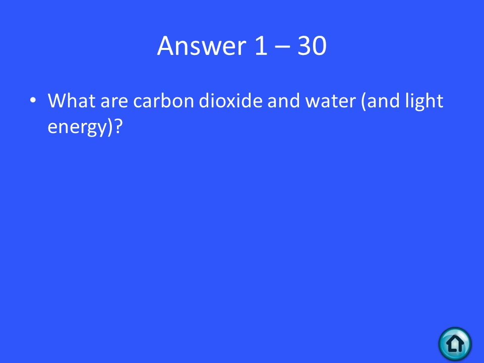 Answer 1 – 30 What are carbon dioxide and water (and light energy)