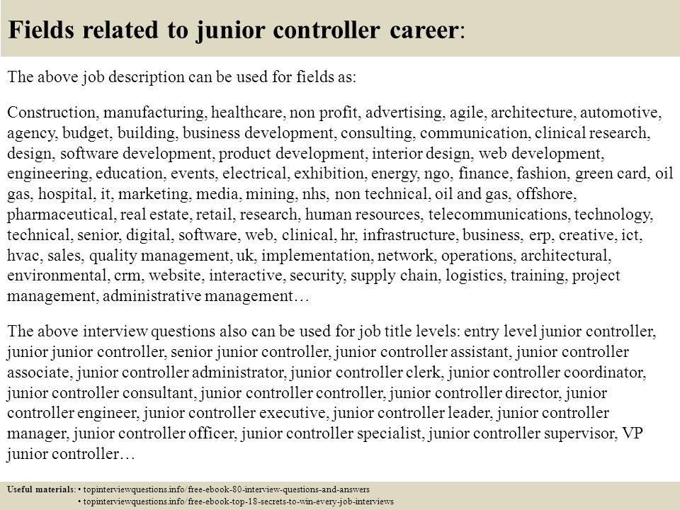 Top  Junior Controller Interview Questions And Answers  Ppt