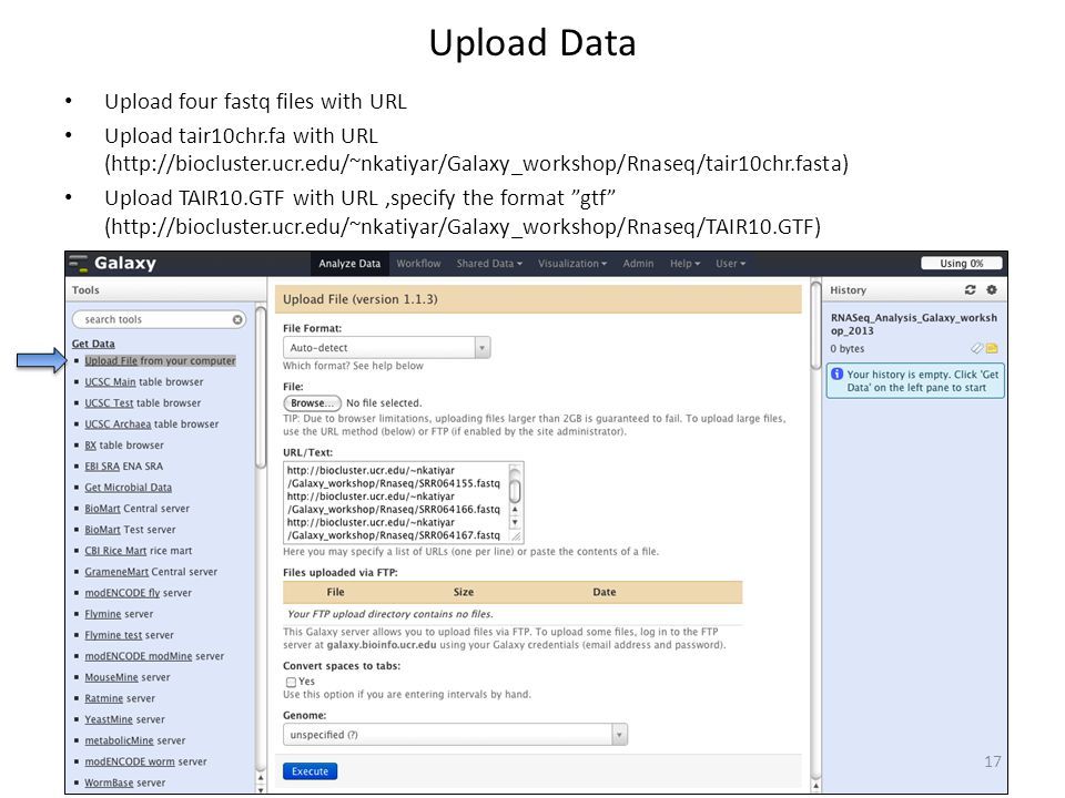 Upload Data Upload four fastq files with URL