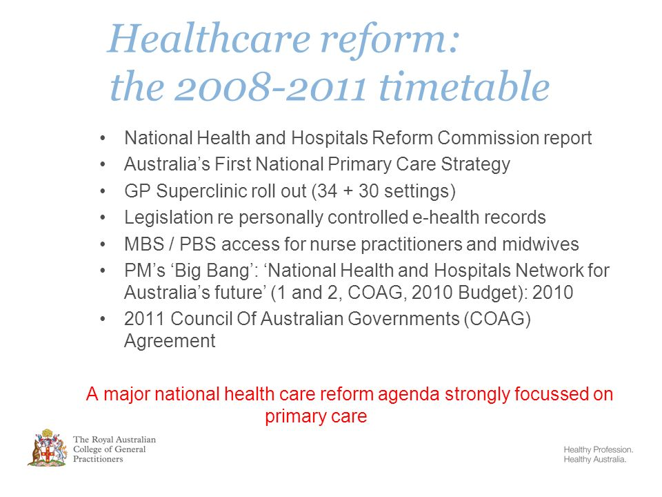 Primary Care Reform In Australia General Practice Leading The Way