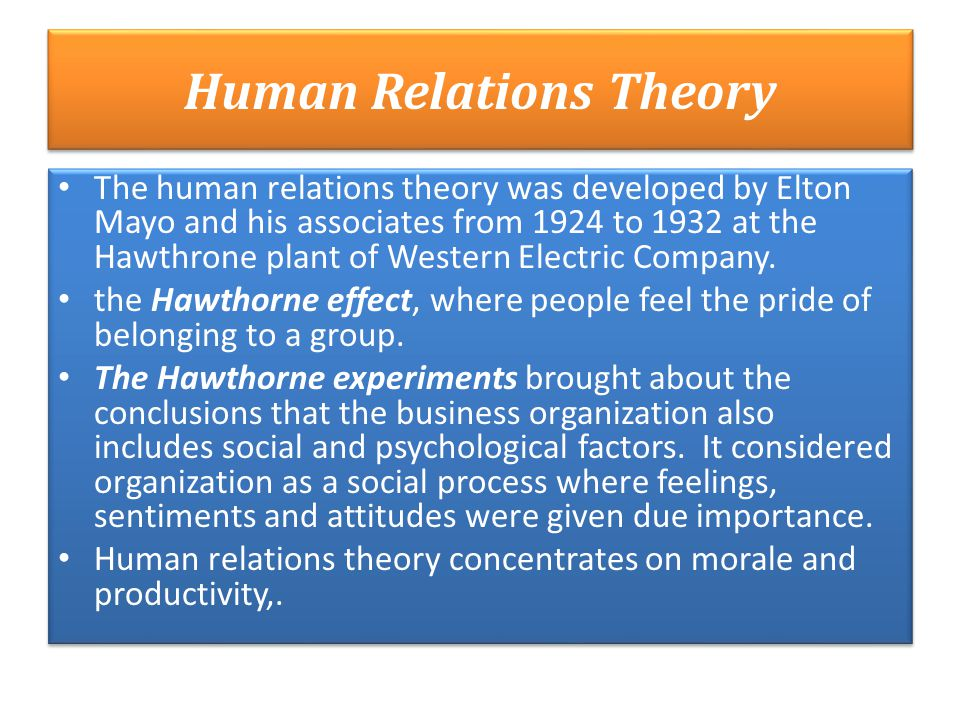 human relations elton mayo Elton mayo was a philosopher, author and is considered one of the fathers of the human relations theory of motivations & contributions to management theory.