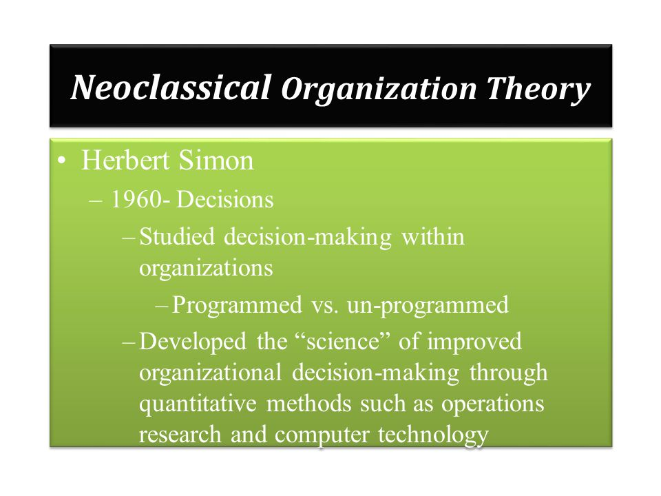 organizations and organizational theory