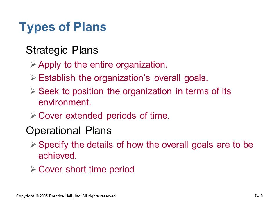 Types of Plans Strategic Plans Operational Plans