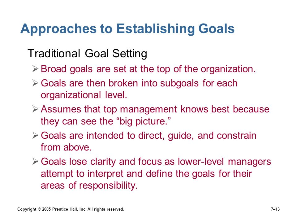 Approaches to Establishing Goals