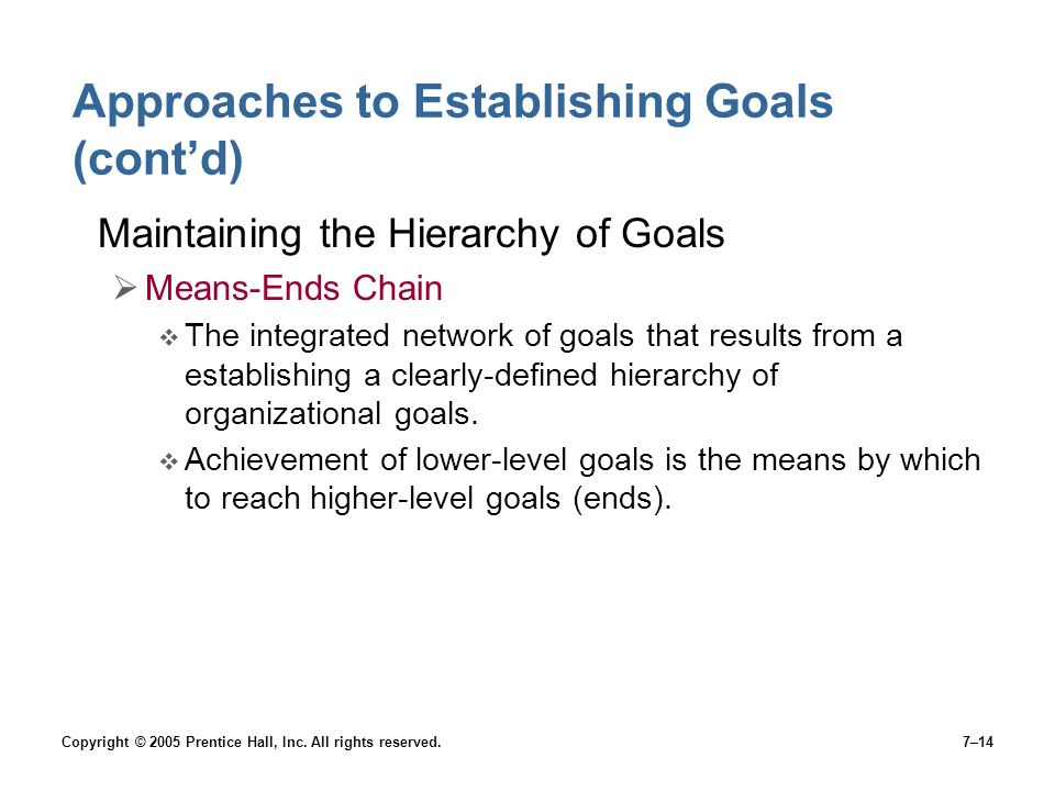 Approaches to Establishing Goals (cont'd)