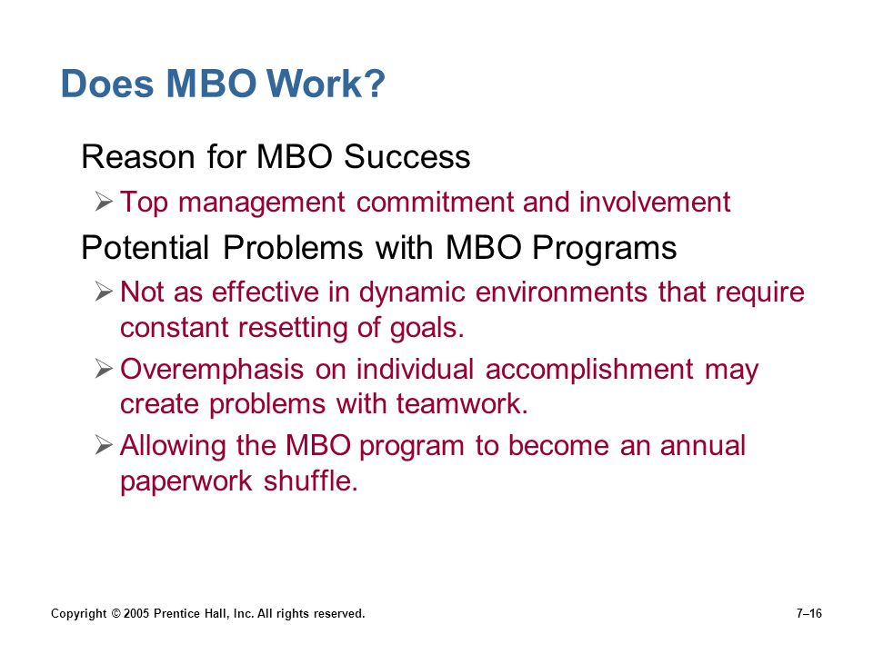 Does MBO Work Reason for MBO Success