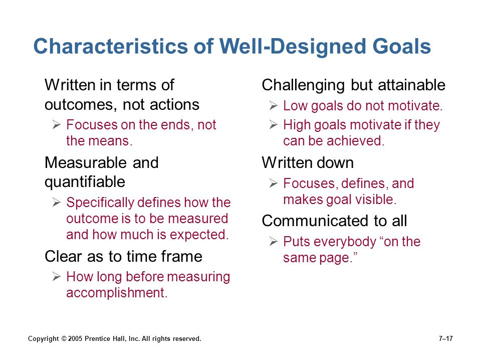 Characteristics of Well-Designed Goals