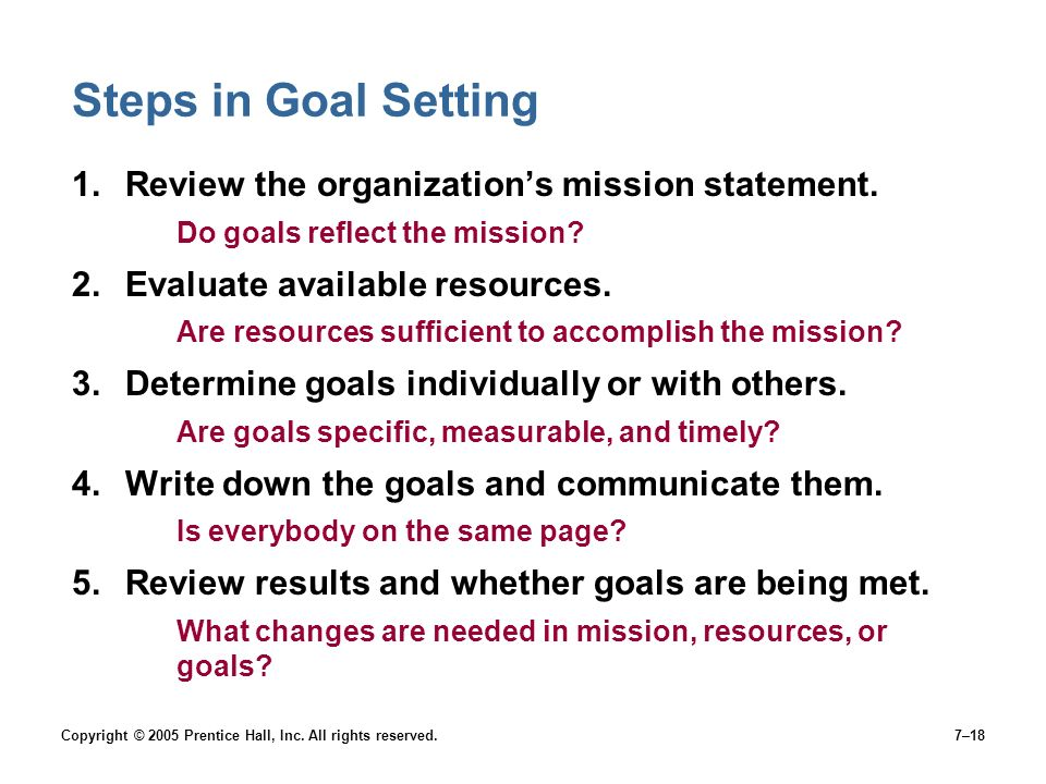 Steps in Goal Setting Review the organization's mission statement.