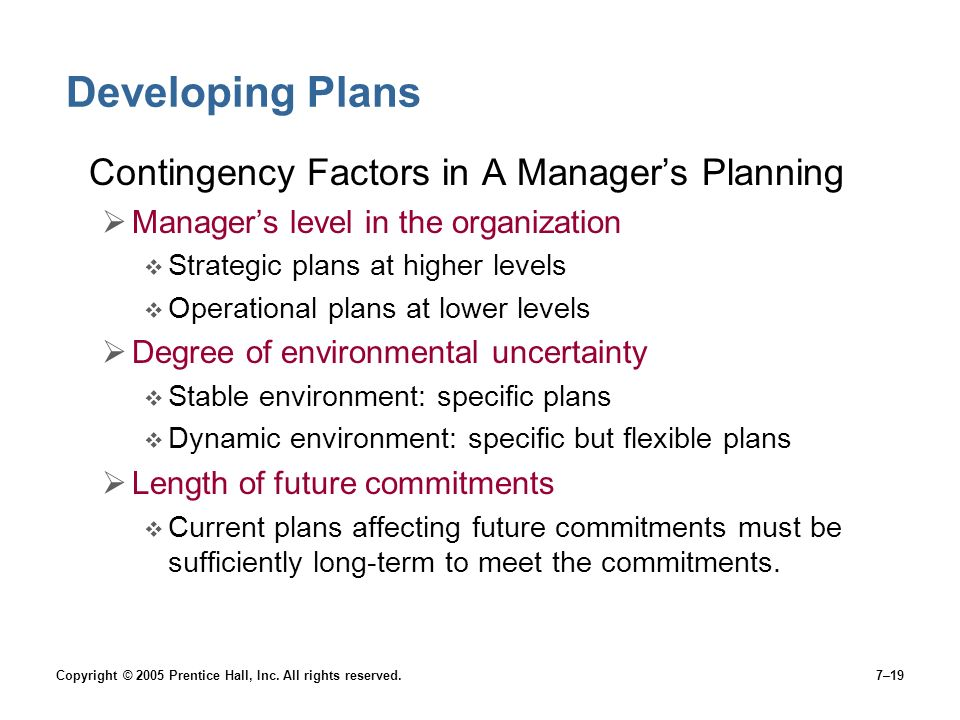 Developing Plans Contingency Factors in A Manager's Planning