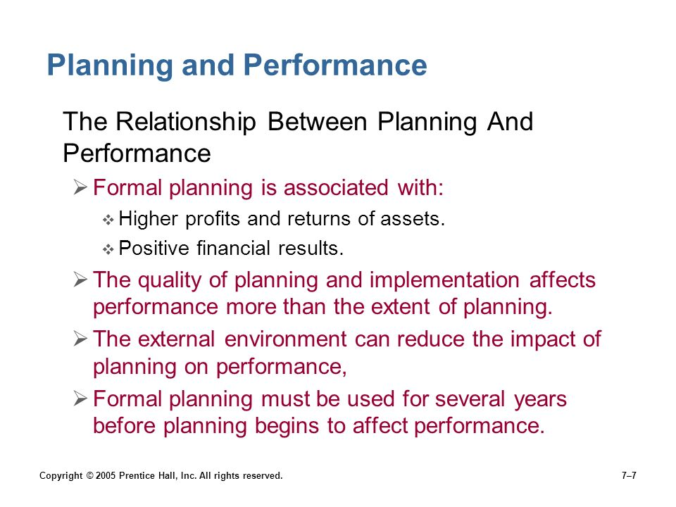 Planning and Performance
