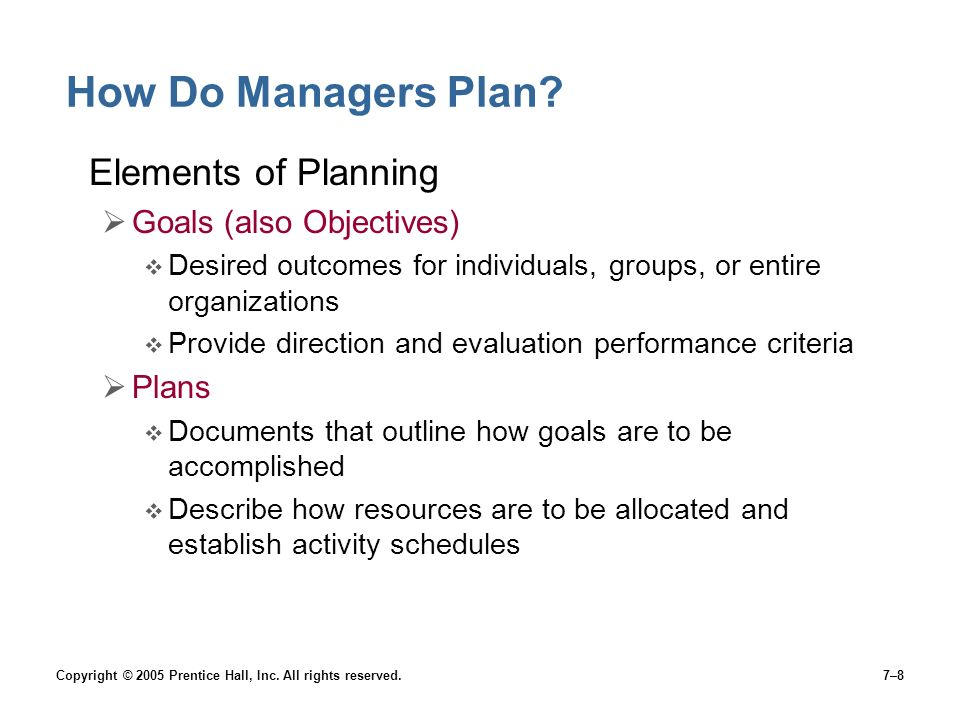 How Do Managers Plan Elements of Planning Goals (also Objectives)