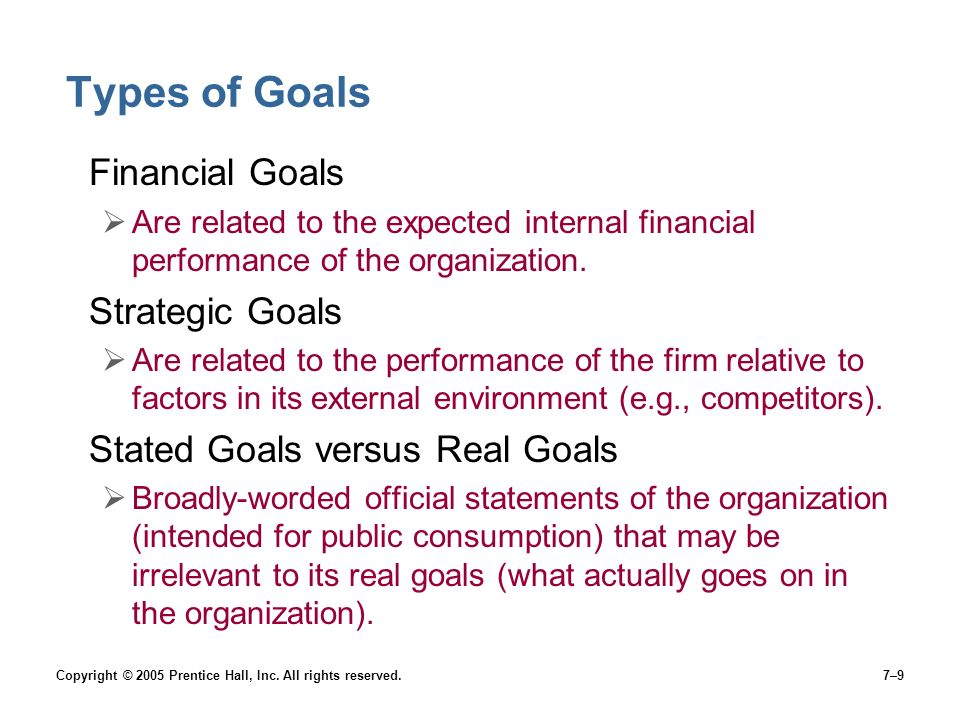 Types of Goals Financial Goals Strategic Goals
