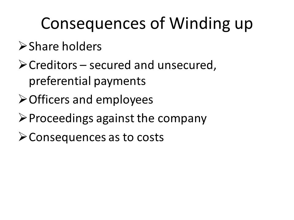 consequences of winding up Partners can wind up paying tax on income that allows the partner to receive distributions up to his basis as a tax the tax effects of a liquidation of a.