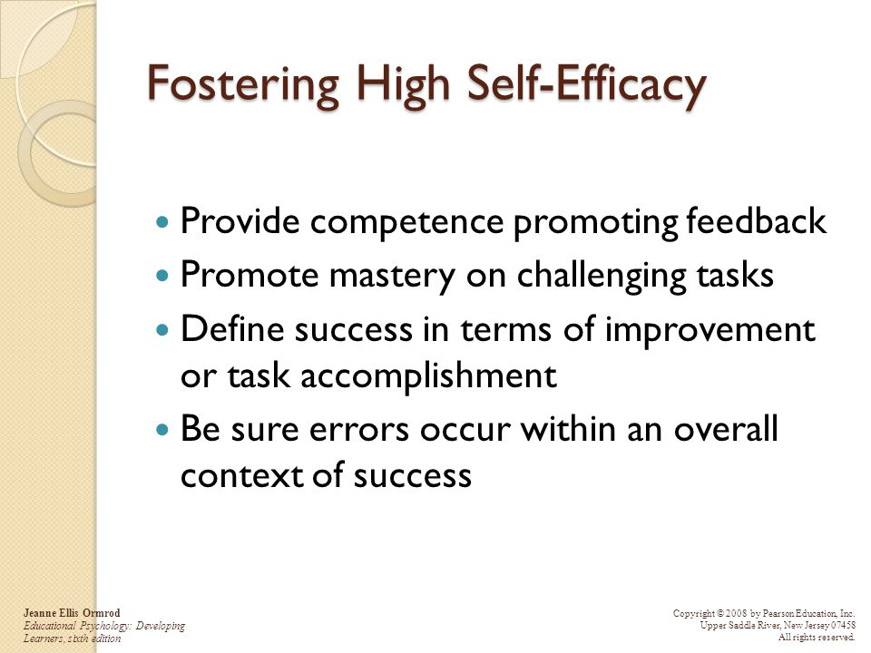 Fostering High Self-Efficacy