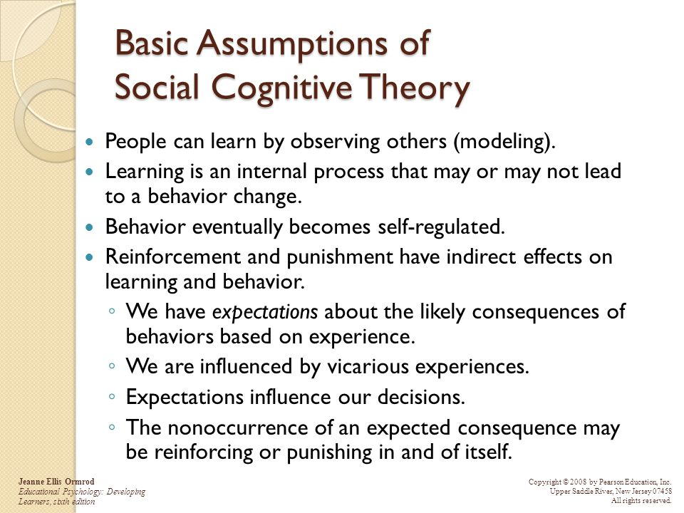 Basic Assumptions of Social Cognitive Theory
