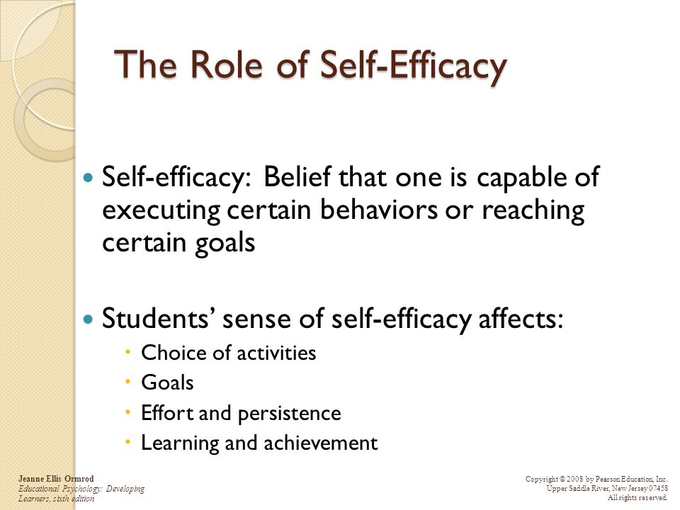 The Role of Self-Efficacy