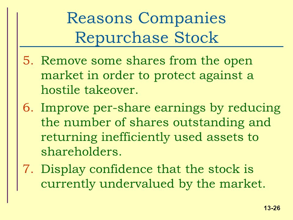 Repurchase stock options accounting