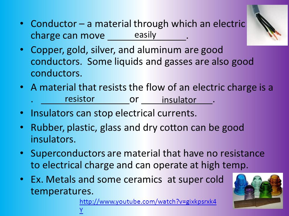 Conductor – a material through which an electric charge can move .