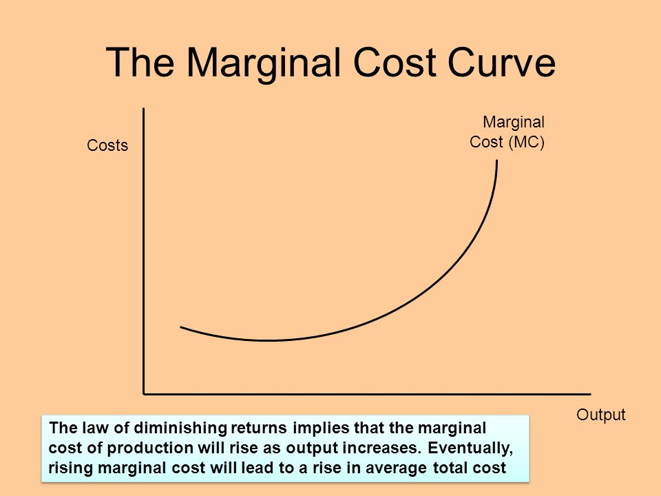 costs and marginal cost Marginal cost is the derivative of the cost function, so take the derivative and evaluate it at x = 100 thus, the marginal cost at x = 100 is $15 — this is the approximate cost of producing the 101st widget.