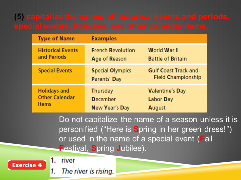 (5) capitalize the names of historical events and periods, special events, holidays, and other calendar items.