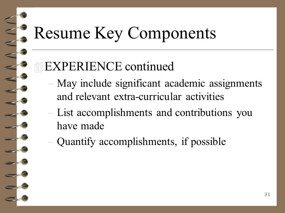 31 resume key components experience continued - List Of Accomplishments For Resume