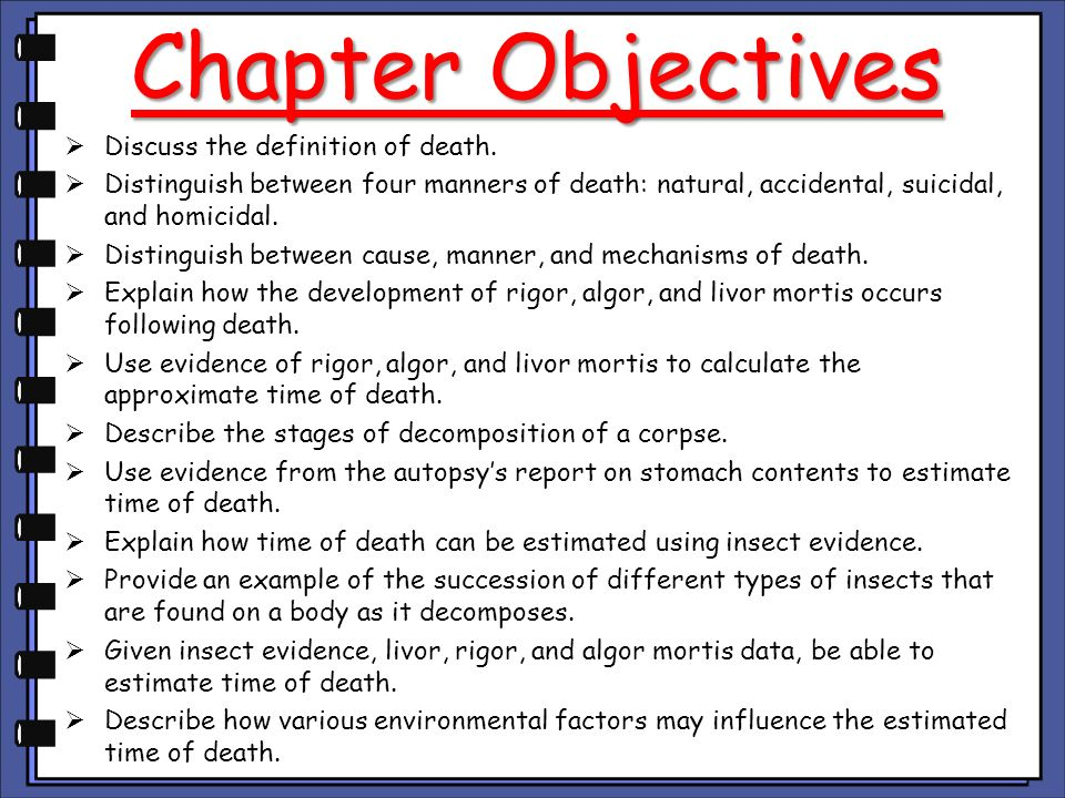Chapter Objectives Discuss the definition of death.