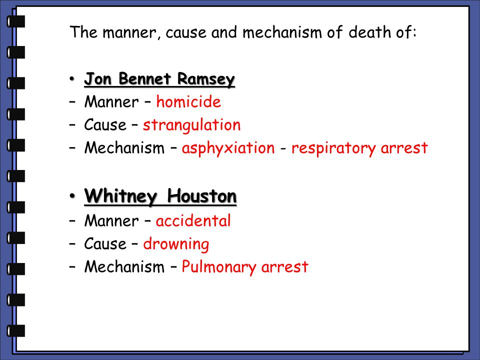 Whitney Houston The manner, cause and mechanism of death of: