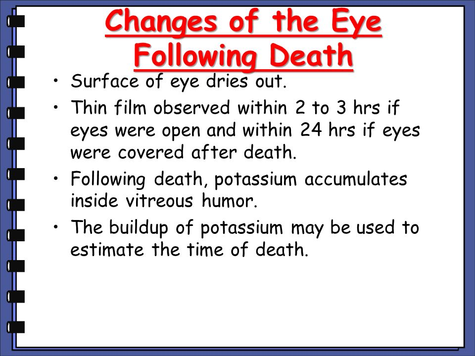 Changes of the Eye Following Death