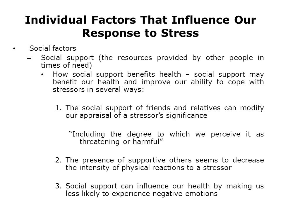individual response to stress Understanding stress: characteristics and caveats  dictate an individual's response to environmental stressors, including characteristics of the stressor (ie.