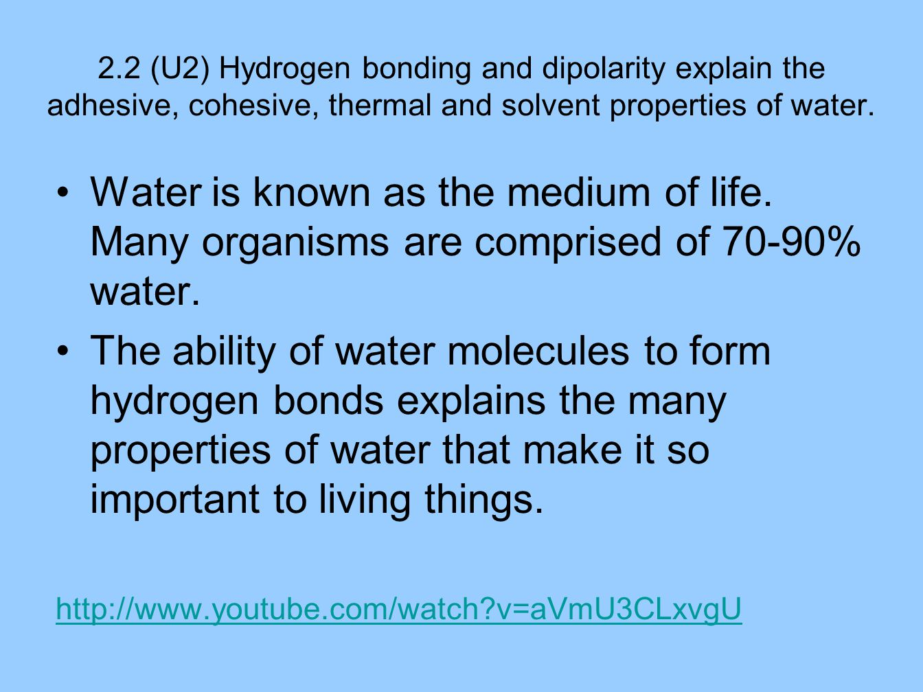 Topic 2.2 Water. - ppt video online download