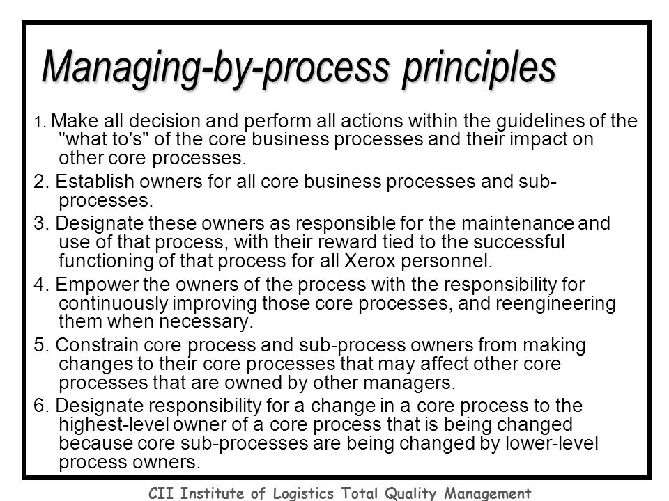 total quality management and core process Total quality management integrates fundamental management techniques, existing • brainstorming: this process has become a staple of the tqm movement.