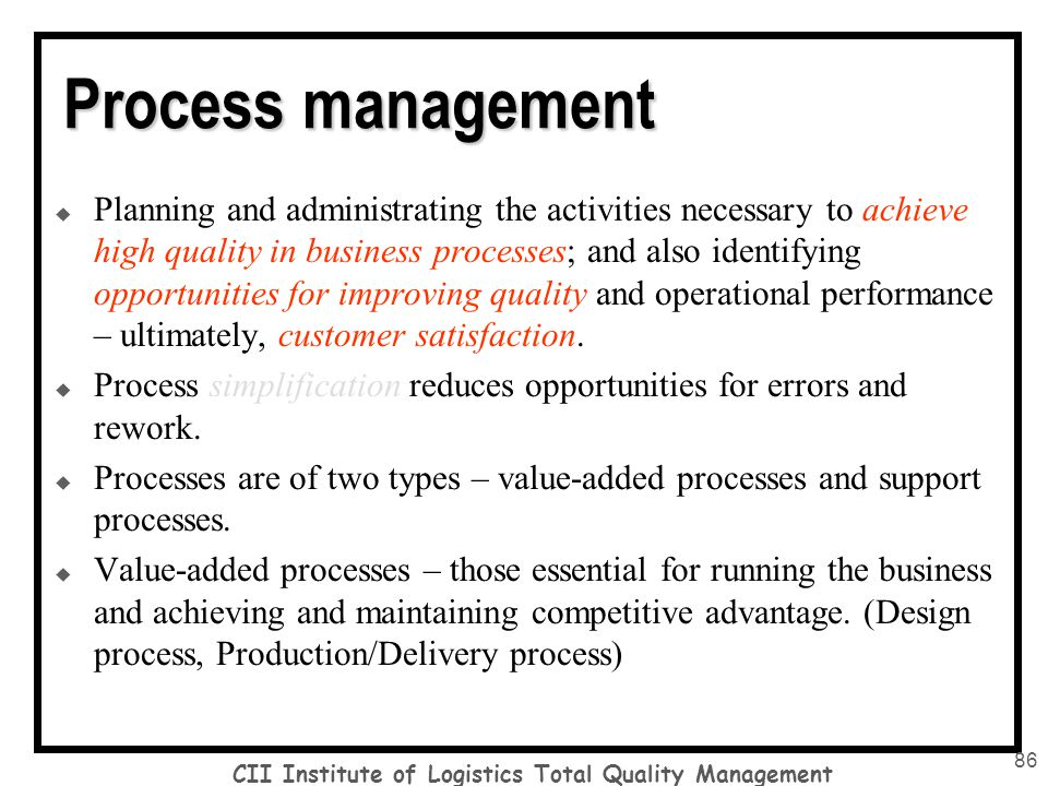 total quality management 7 essay Quality control is a process that is employed in order to ensure a required level of fineness and quality in a product or service delivered by a company qual.