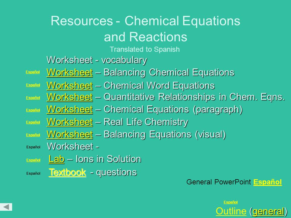 Resources - Chemical Equations and Reactions
