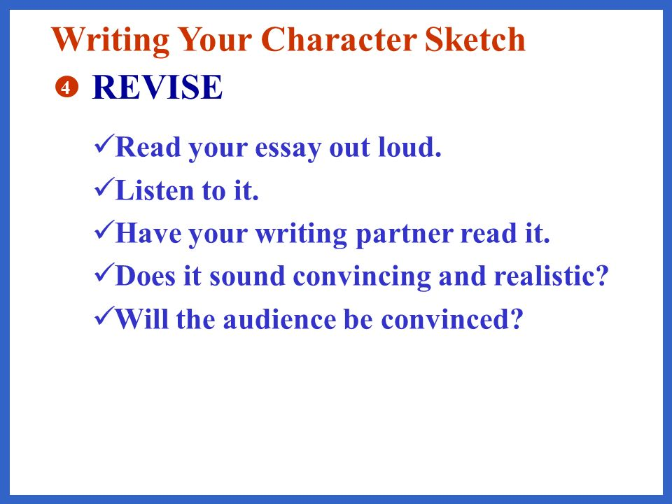 killings a character sketch essay example Expert reviewed how to write a character analysis three parts: getting started writing the character analysis using evidence in your writing community q&a learning how to write a character analysis requires a thorough reading of the literary work with attention to what the author reveals about the character.