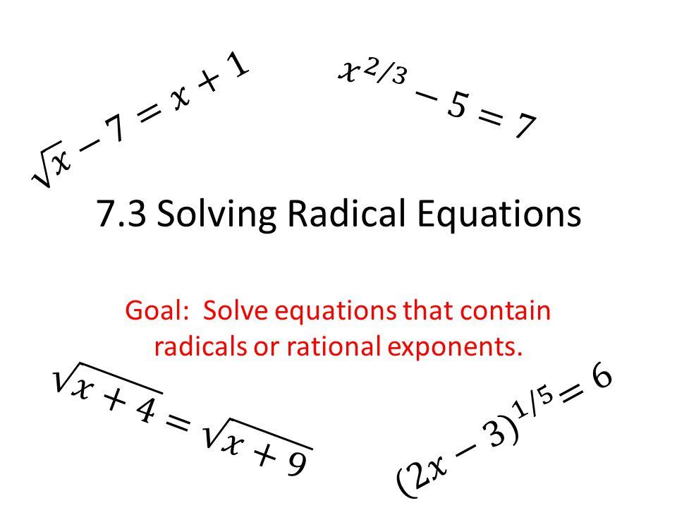 73 Solving Radical Equations ppt video online download – Radical Equations Worksheet