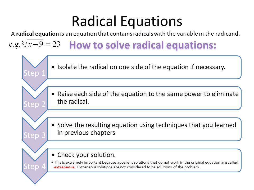 7 3 solving radical equations ppt video online download. Black Bedroom Furniture Sets. Home Design Ideas