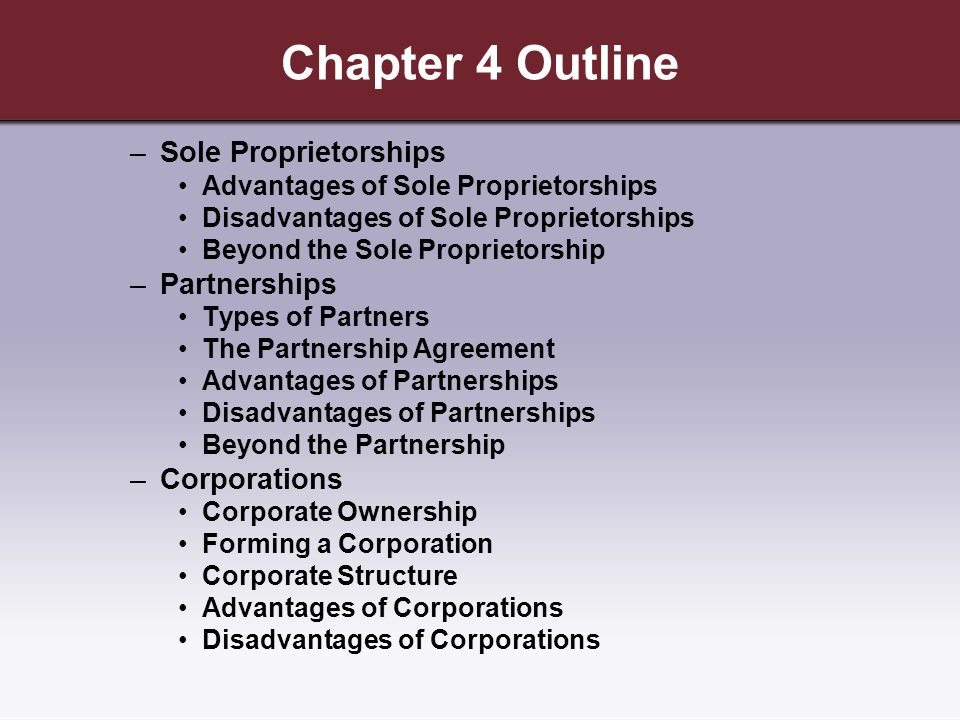 sole proprietorships and partnerships Activity1, continued types of business organizations franchise a franchise is actually a hybrid, and can take the form of a sole proprietorship, partnership or.