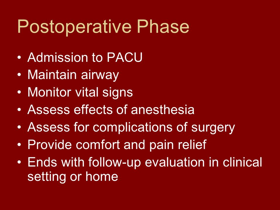 Postoperative Phase Admission to PACU Maintain airway