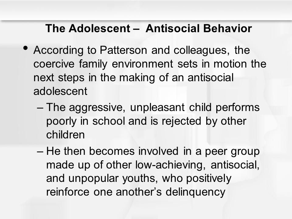 an overview of the adolescent behavior in the school environment Conduct disorder (cd) is one of the most difficult and intractable mental health problems in children and adolescents cd involves a number of problematic behaviors, including oppositional and defiant behaviors and antisocial activities (eg, lying, stealing, running away, physical violence, sexually coercive behaviors.
